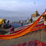 Paul Nevin Varanasi Travel Photo Manikarnika Ghat textile